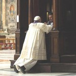 Pope Francis goes to Confession cropped